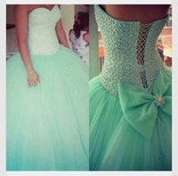 green wedding gown - Elegant Vestidos De Noivas Lace Up Ball Gowns Bridal Gowns Mint Green Romantic Tulle Wedding Dresses