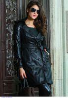 Cheap Women Autumn&Winter Hot Sale 2014 Fashion Black Leather Womens Long Trench Coat Jacket abrigos mujer manteau femme
