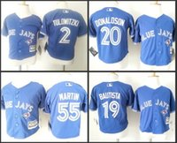 Wholesale Cheap Authentic toronto blue jays jersey Baby Jose Bautista Josh Donaldson Martin Cool Base toddler Jersey stitched S L