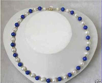 Wholesale gt gt gt stunning mm round white freshwater pearls blue lapis lazuli necklace