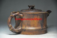 bamboo stone carving - SUPERB ROCK STONE HANDMADE PINE BAMBOO AND PLUM BLOSSOM quot TEAPOT LM1741