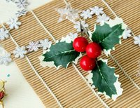 berry clip - Christmas Decorative Flowers Holly Leaves with Red Berry and Clip inches Christmas supplies