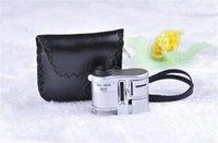Mini bolsillo microscopio 60X Lupa Lupa Con 3 LED de luz de fluorescencia Comprobación del mono al por mayor de joyería de documentos