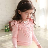 best t shirt brand - New autumn princess girls t shirts lace flowers long sleeves kids cotton tops fashion all match children best dress tops A7361