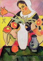 Oil Painting art lute - Modern art abstract piantings The Lute Player August Macke Oil on Canvas High quality Hand painted