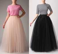 adult white tutu - Fashion Simple Women Skirts All Colors layer Floor Length Adult Long Tutu Tulle Skirt A Line Plus Size Long Skirts