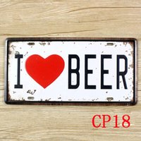 Wholesale CP18 I love Beer Vintage Metal Tin Signs License Plate Bar Pub Cafe Home Art Metal Signs Size about cm