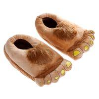 Wholesale 2015 Fashion Big Hairy Unisex Savage Monster Hobbit Feet Plush Home Slippers Halloween Winter Warm Indoor Slippers
