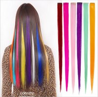 Wholesale 20pcs Womens Girls Straight Clip in on Colorful Hair Extensions inch cm long colors cosplay Hair Extensions Hair piece FP02