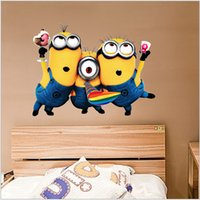 Wholesale AAA quality CM kid boy girl minnions bedroom setting wall stickers removed creative home decoration christmas gift topB1479
