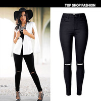 Wholesale 2016 New Brand High waisted Stretch Black Women Jeans Hole European Style Fashion Wild Skinny Jeans Pantalon Femme Push Up Jeans For Women