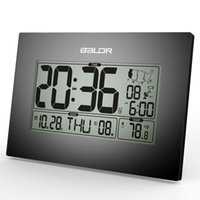 atomic alarm - Baldr Stylish Modern Office Tabletop CLock WWVB Atomic PMCE Time Zone Clocks Calendar and Temperature Alarm Desk Clcok