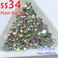 Wholesale ss34 bag New Shiny Crystal AB Color Flat back non hotfix rhinestone Nail art crystal beads For DIY