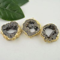 Wholesale Druzy Connector Geode Druzy Connector k Gold Plated Druzy Agate Drusy Pendant Gem stone Connector Jewelry Making