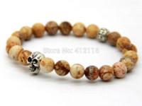 agate stone pictures - 2014 New Men s Beaded Bracelets mm Picture Jasper Stone beads Silver Skull Yoga Bracelets