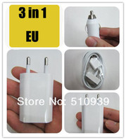 auto ac adaptor - in1 EU Wall Charger Mini Car Auto charger USB Data Cable For IPhone4 G S GS for IPod Power Adapter AC Adaptor Europe1set