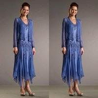 tea length mother of the bride dresses with sleeves - 2015 New Style V Neck Chiffon Tea Length Mother Of The Bride Suits With Long Sleeve Coat Formal Dress Plus Size Custom EN71822
