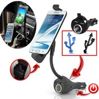 Wholesale Universal Car Phone Holder Mount Stand With Dual USB Charger Cigarette Lighter for Samsung Lenovo Smartphones