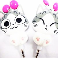 automatic cat - cheese cat bear cartoon earphones automatic retractable earphones for mobile phone computer cartoon earphones girl cute headphone