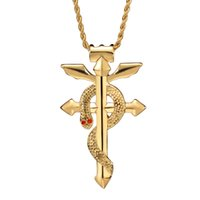 animal totem necklace - Fashion Stainless Steel Gold Plating Alchemist Snake Cobra Domineering Religious Totem Cross Pendant Necklace for Men SP00846