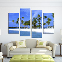 beach decor ideas - 4 Panel tree with beach seascape arts Wall painting print on canvas for home decor ideas paint on Wall hand painted oil painting