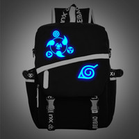 Wholesale New Noctilucent Naruto Backpack Boy Girl Hokage Ninjia School Bags For Teenagers Japanese Anime Canvas Backpacks