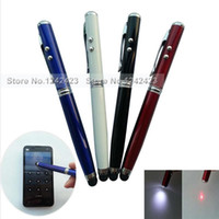 Wholesale 4 pieces New in Laser Pointer LED Light Torch Touch Pen Screen Capacitive Stylus Ball Pen for iPhone iPad