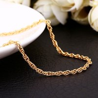 Wholesale C033 Retail Jewelry k Gold Plated Chain Necklace Women Necklaces mm Rope chain Antiallergic Fastness