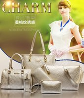 channel - 2015 new hot sale gold channel women handbag sets leather women messager bags a kit