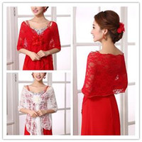 Wholesale 2016 New Bride Lace Shawl Europe And The United States Spring And Autumn Elegant Red Flowers Bride Wedding Dress Cheongsam Shawl B