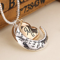 Wholesale Love Heart Chains - 2016 High Quality Heart Jewelry I love you to the Moon and Back Mom Pendant Necklace Mother Day Gift Wholesale Fashion Jewelry ZJ-0903221