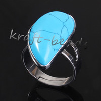 beautiful turquoise jewelry - Silver Plated beautiful turquoise Beads Water Drop shape Adjustable Stone Finger Ring Jewelry