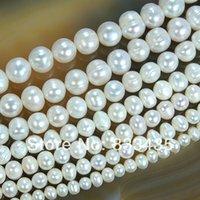 achat en gros de blanc perles en gros de perles-Gros-5,6,7,8,9,10,11mm naturel d'eau douce White Pearl Perles rondes 15