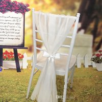 Wholesale Gorgeous Champagne White Ivory Chiffon Wedding Chair Sash Chair Sash Party Banquet Fast Delivery wedding supplies