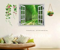 Wholesale 3D Boulevard Window Scenery Tree Flower Art Wall Stickers Vinyl Decal Home Decor