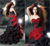 Wholesale Red and Black Wedding Dresses Sweetheart with Handmade Flower Tiers Cascading Ruffles Court Train Vintage Bridal Gowns Sexy Gothic Enzoani