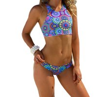 bandeau tankini - 2016woman s bandeau bikini push up tankini polyester wire free print sexy color floral tankini swimsuits women size S XL S61642R