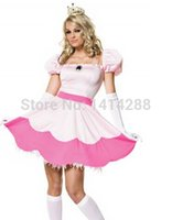 adult princess peach costume - Princess Peach costume women adult fashion pink sexy halloween costumes carnival party cosplay dress