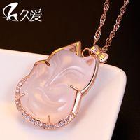 acacia powder - Long love Silver Necklace Pendant noble gift female fox Acacia powder