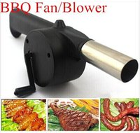 Wholesale Outdoor Camping BBQ Fan Air Blower Hand Crank Powered for Picnic Barbecue Fire new arrive