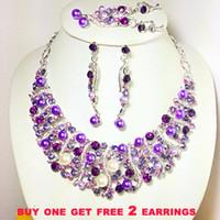 Wholesale purple bridal Jewelry set crystal necklace earrings K GP zinc alloy Neoglory Jewelry outlets rihood Jewelry valentine day gift NJ