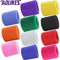Wholesale 1 Sweatbands Terry Cloth Cotton Wrist Sweat Band Wristband Sport Yoga Workout Running Women Men Wrist Support Color Q036