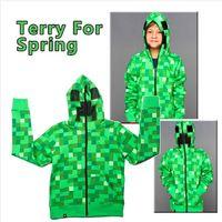 hoodies wholesale - 2015 children Minecraft clothes Creeper hoodies baby boys sweashirts minecraft hoodies cotton children cartoon hooded cartoon baby clothes