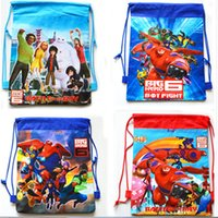 Wholesale Beast corps big hero hero non woven strand pocket Children s cartoon backpack swimming package