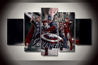 anime wall scrolls - 5 Panel No Framed Printed Avengers Painting on canvas room decoration print poster picture canvas anime wall scroll