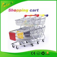 Wholesale Novelty double layer Cute Cart Mobile Phone Holder delicate Pen Holder Mini Supermarket office Handcart Shopping Utility Cart Phone Holder