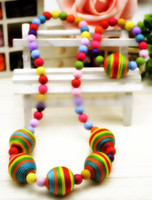 Wholesale Hot Sell Children Girls Birthday Gift Colorful Beads Necklace Bracelets Set Kids Strench Rainbow Balls Clothes Jewelry Sets H2755