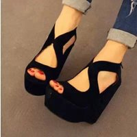 animal print wedge shoes - FASHION Wedge High Heel Women Sandals Black Shoes Summer Fretwork Platform Sandal Gladiator Sandals Women sandalias LD53