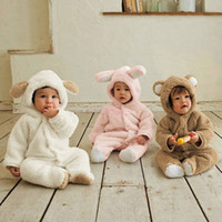 Wholesale Autumn Winter Baby Cartoon Animal Clothing Coral Fleece Romper Months Infant Babies One Pieces Sets Warm Jumpsuits SV005481