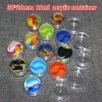 acrylic nail containers - hot Clear ml acrylic bho jar silicone wax oil container dab jar dab box concentrate shatter holder ti nail oil jars